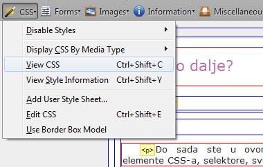 Web Developer toolbar - otvoreni izbornik CSS