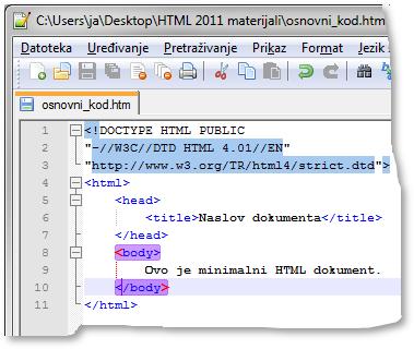 Notepad++ – sparivanje početne i završne oznake
