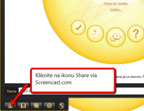 Opcija Share via Screencast.com