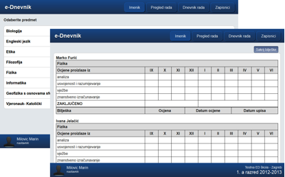 izvještaj s ocjenama pojedinih predmeta dostupan razrednicima