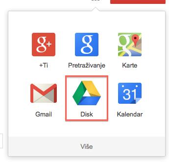 Otvaranje Google diska