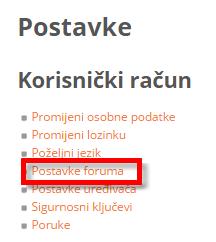 Link na postavke foruma