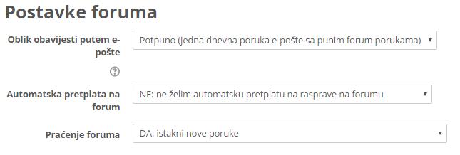 Postavke foruma u profilu