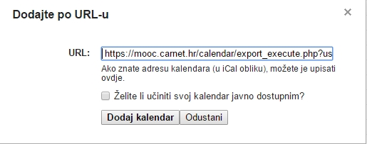 Googleov kalendar - lijepljenje adrese