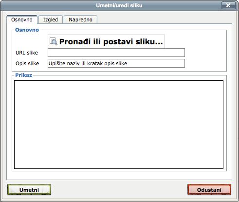 Dodavanje slike u HTML editoru u Moodle-u